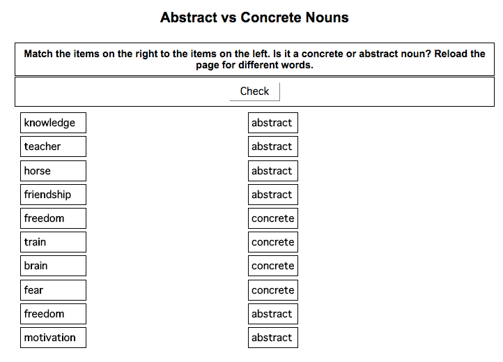 Concrete/Abstract Nouns - Hilt...